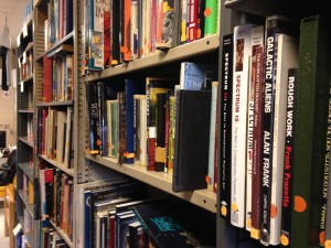 The stacks of MIT's Science Fiction Society library